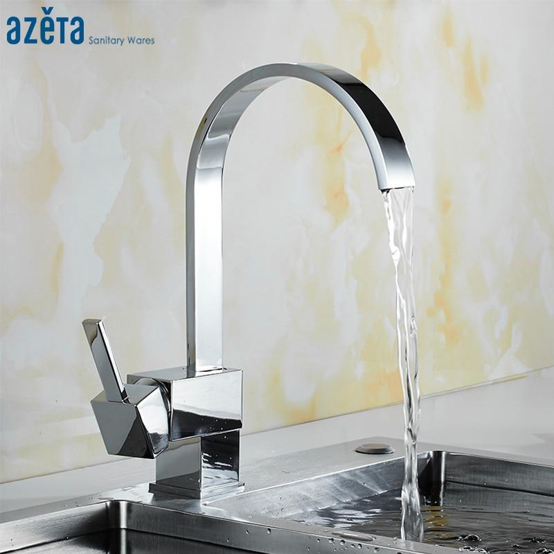 Azeta Free Shipping Kitchen Faucet 360 Degree Swivel Water Tap Kitchen Chrome Brass Kitchen Water Mixer MK8824