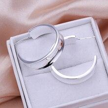 Высокое качество ювелирные серьги 925 ювелирные изделия Посеребренные гладкие круглые серьги для женщин аксессуары лучший подарок