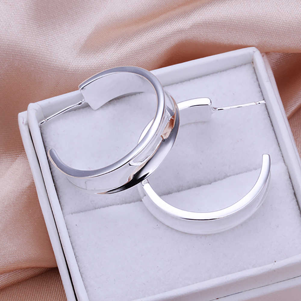 Wholesale High Quality Jewelry Earring 925 Jewelry Silver Plated Smooth Circle Earrings for Women Accessories Best Gift