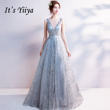 Its Yiiya Light Gray V-Neck Luxury Evening Dresses Bling Sequined Floor Length Famous Designer Party Formal Dress LX264
