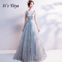 It's Yiiya Light Gray V Neck Luxury Evening Dresses Bling Sequined Floor Length Famous Designer Party Formal Dress LX264