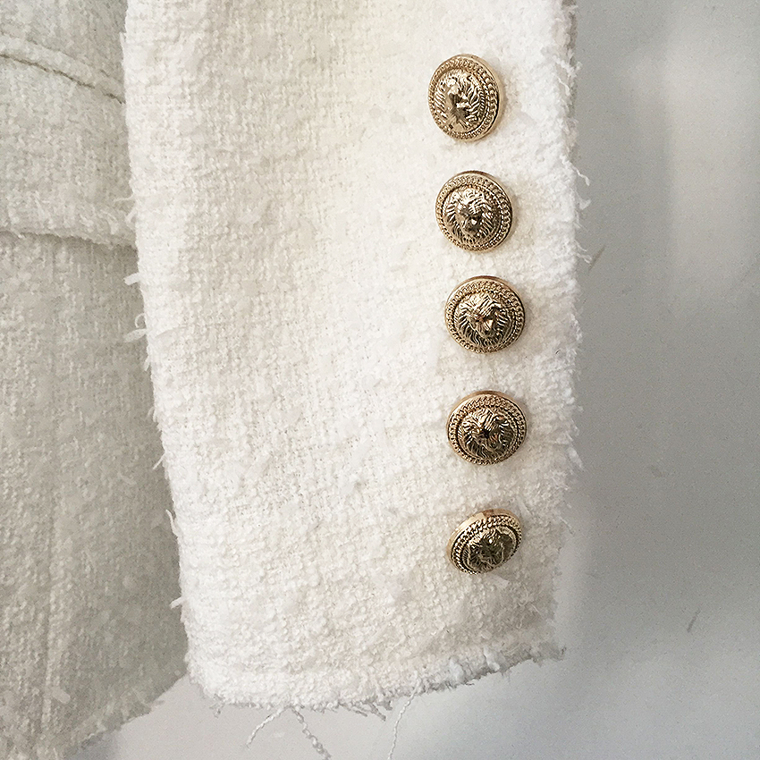 Sur Breasted Haute Tweed De Veste Gland Femmes Mode Lion Qualité Châle Designer Double Blazer Nouvelle Col Manteau 2018 Boutons PqqTdS