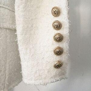 Image 4 - Veste en Tweed avec col châle pour femmes, veste de styliste, haut de gamme 2020, col châle, boutons lions croisés