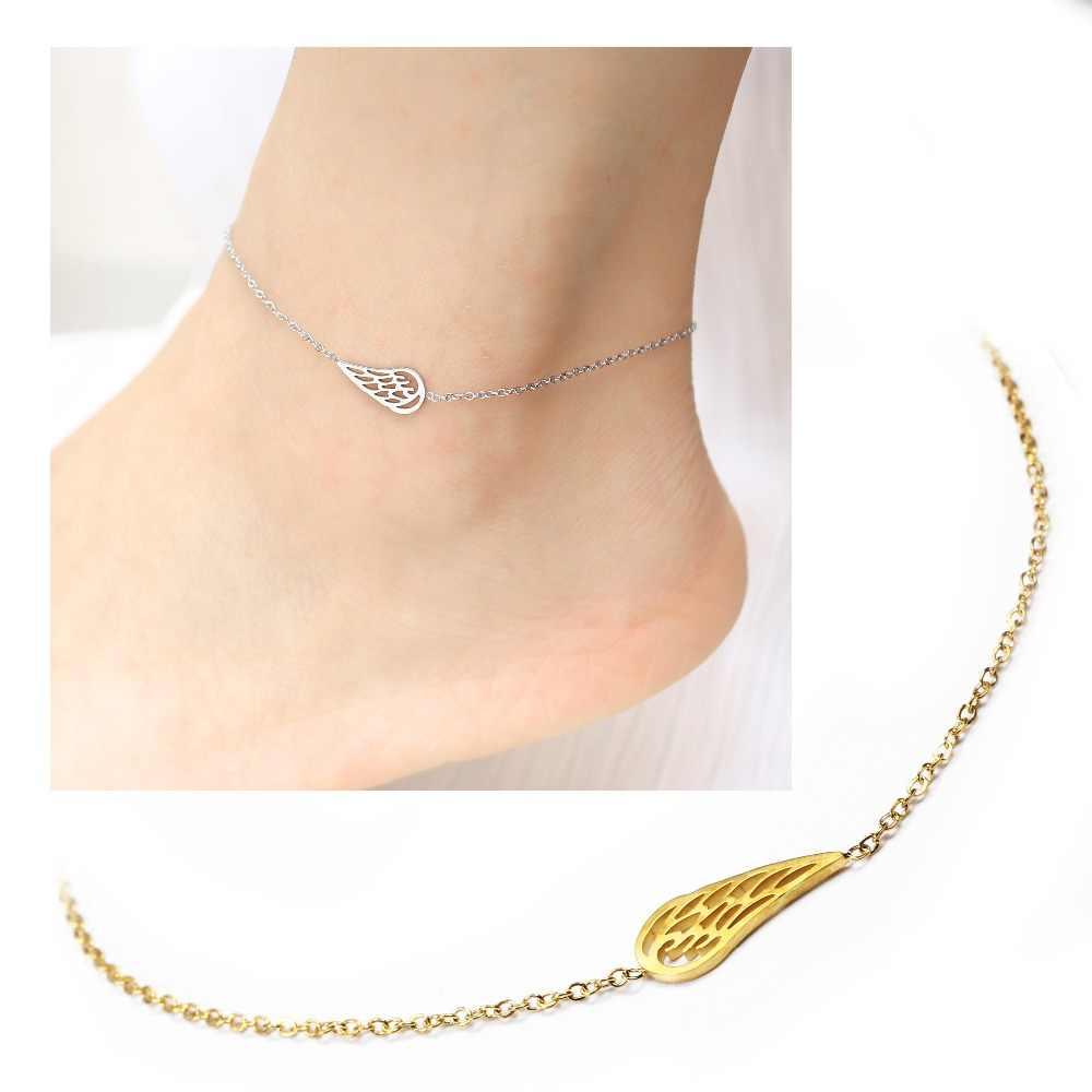 Крыло личный стиль женские ножные браслеты нержавеющая сталь босоножки Украшенные бижутерией браслеты на ноги лодыжки Браслеты для Для женщин ножная цепочка