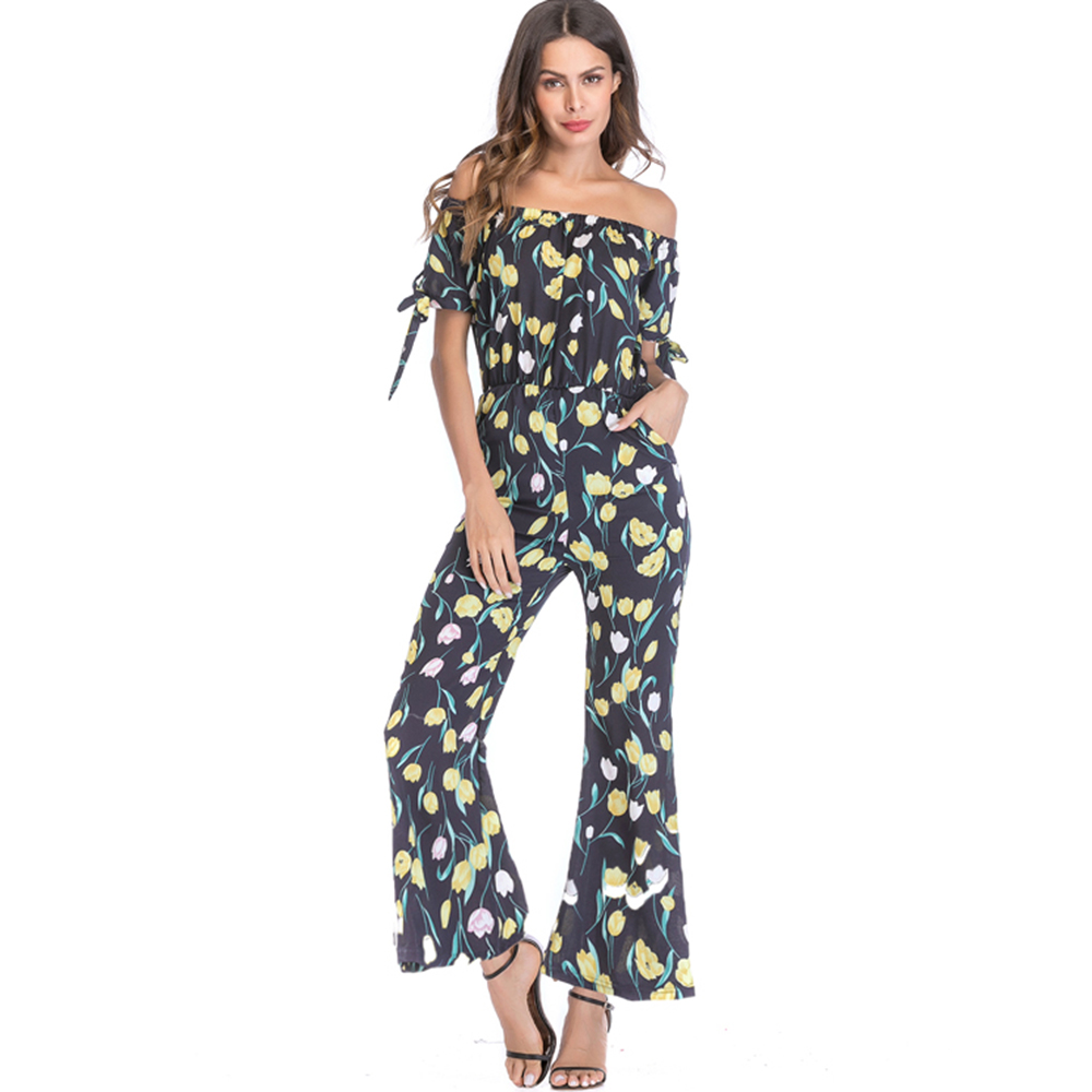 Women 2018 hot fashion full length jumpsuit floral print slash neck lace-up wide legs mid-waist street summer loose jumpsuits