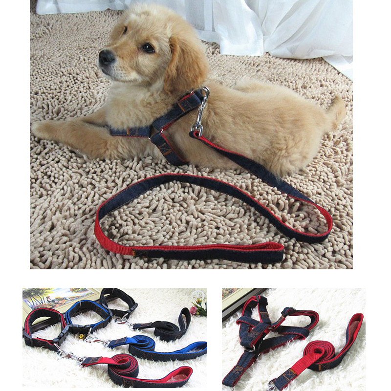 Sincere For Dogs New Arrival Hot Sales Solid Colors Colorful Jean Denim Leash And Harness Dog Collar Chain Safety Belt Vest For Pets Sets Dog Collars & Leads