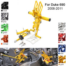 CNC Aluminum Adjustable Rearsets Foot Pegs For KTM Duke 690 duke690 2008 2009 2010 2011