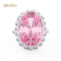 OneRain Vintage 100% 925 Sterling Silver Oval Pink Sapphire Gemstone Wedding Engagement Yellow Gold Ring Fine Jewelry Wholesale