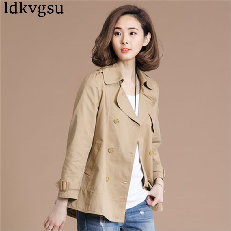 2018 Fashion Spring Autumn Women   Trench   Coat Large Size 5XL 6XL Cotton Coat Casual Loose Windbreaker Outerwear Female A1161