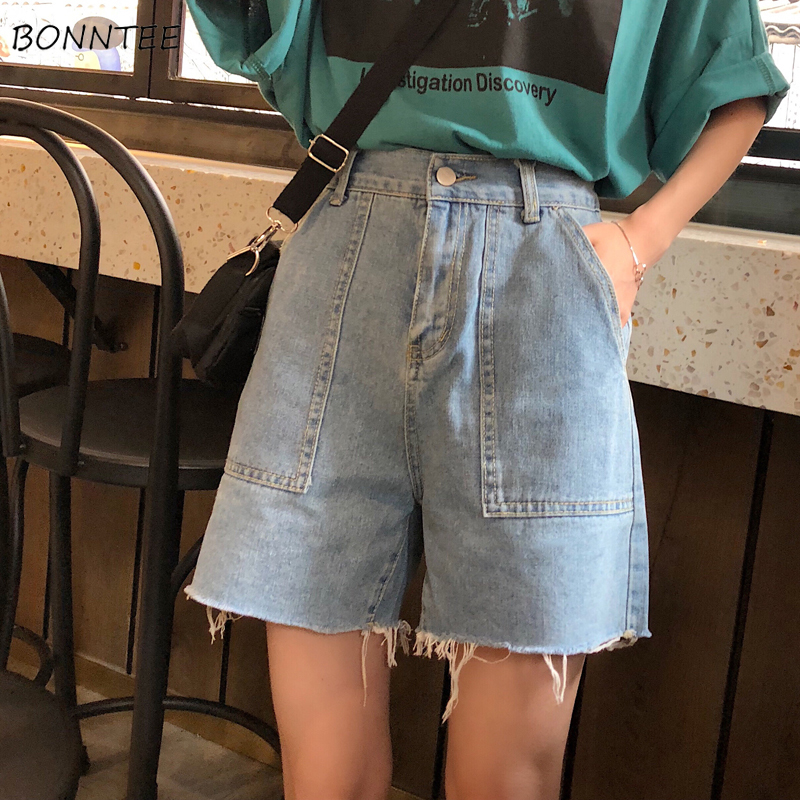 Shorts Women Summer Korean Style High Waist Loose Solid Casual Streetwear Simple Trendy Womens Daily Chic All-match Simple 2019