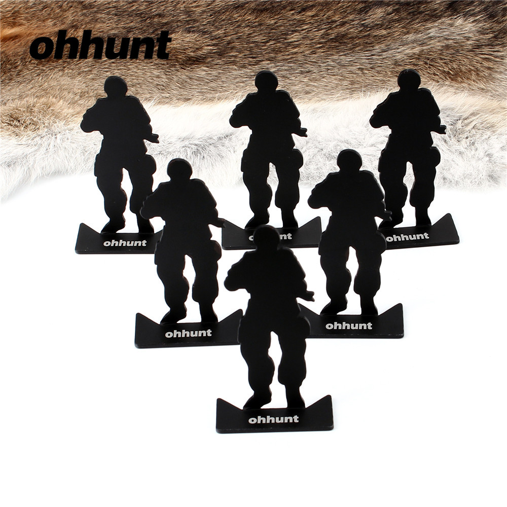 ohhunt Tactical 6pcs Metal Target Modle Size 80*44mm Black For Hunting Military Shooting Training Free Shipping