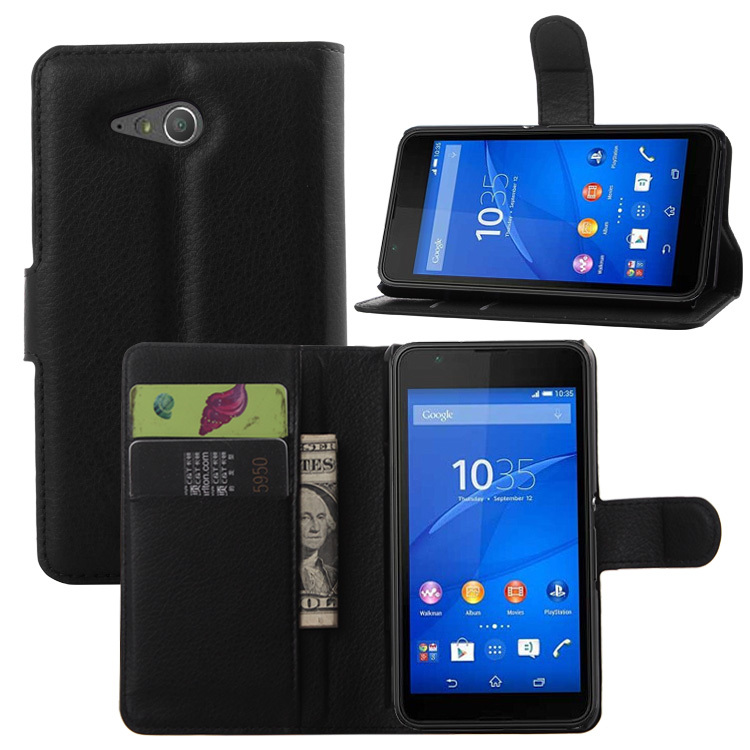 Lyxig plånbok PU-läderfodral för Sony Xperia E4g Dual E2033 E2003 - Reservdelar och tillbehör för mobiltelefoner - Foto 3