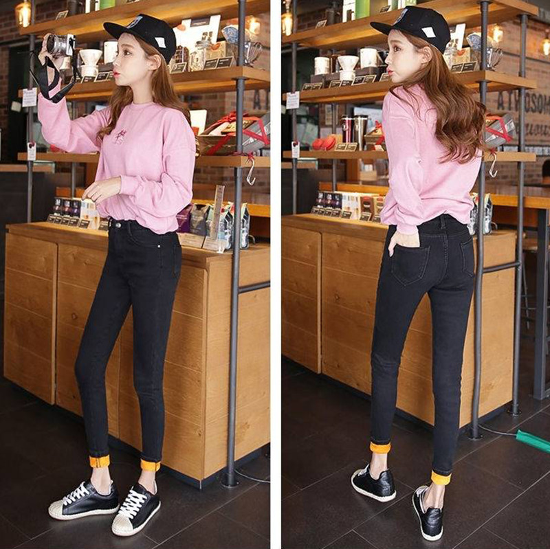 Winter Warm Jeans For Women - Elastic High Waist Denim pants