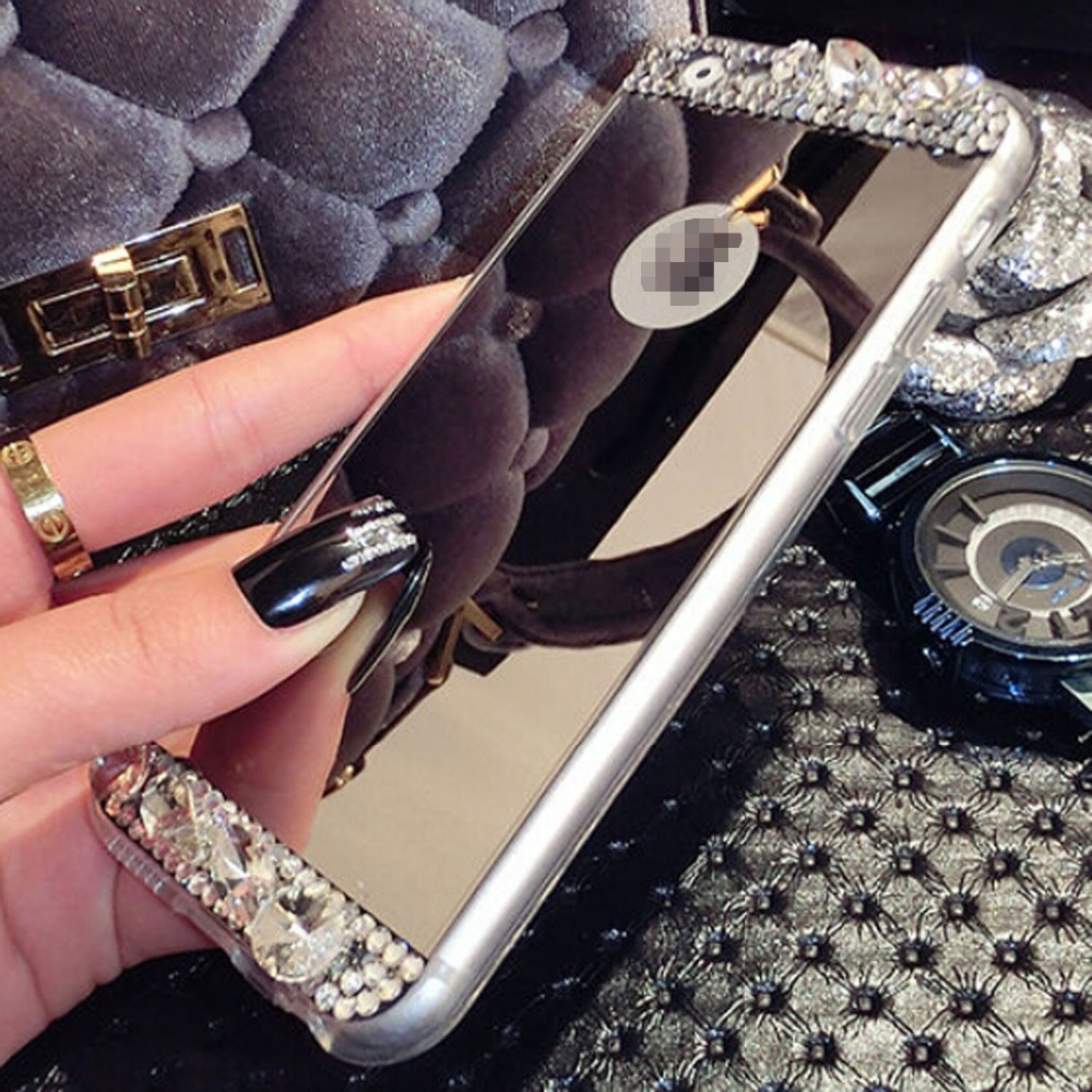 Diamond Glitter Soft Shiny Sparkling with Glass Mirror Back Plate Cover for iPhone 11 Pro MAX X XS MAX XR 6s 7 8 plus plus Case