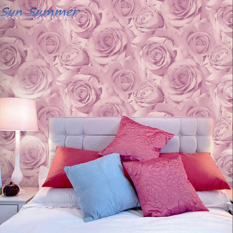 bedroom with pink walls romantic purple pink rose wallpaper bedroom wall 14476 | Romantic purple pink rose wallpaper bedroom wall personalized decoration wallpaper
