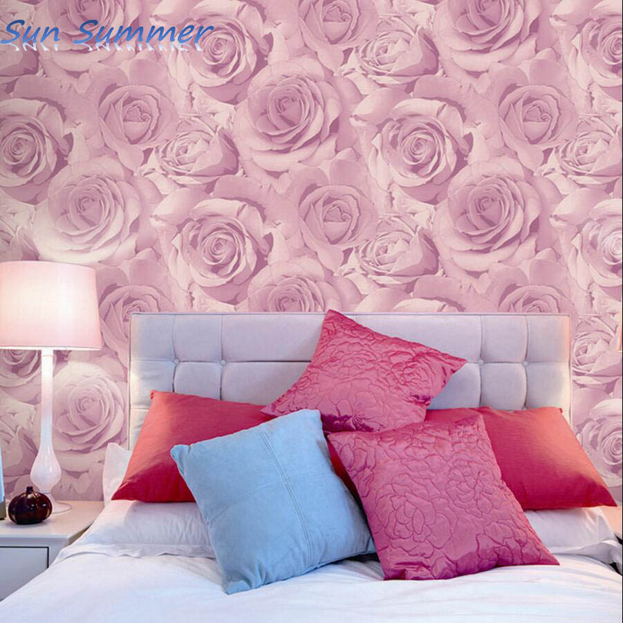 Romantische Lila Rosa Rose Tapete Schlafzimmer Wand Personalisierte Dekoration Tapete Pink Rose Wallpaper Roses Wallpaperwallpaper Bedroom Aliexpress