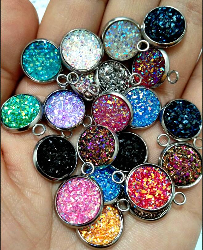 50 Pieces Flatback Heart Shaped Stripe Resin Cabochon 12mm Multi-Color AB