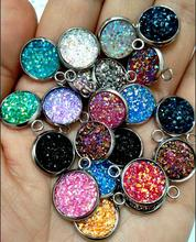New 12mm Round Glitter Faux Druzy Cabochon Resin Charms For Gilrs Necklace Bracelet DIY Jewelry Making 60 piece/lot