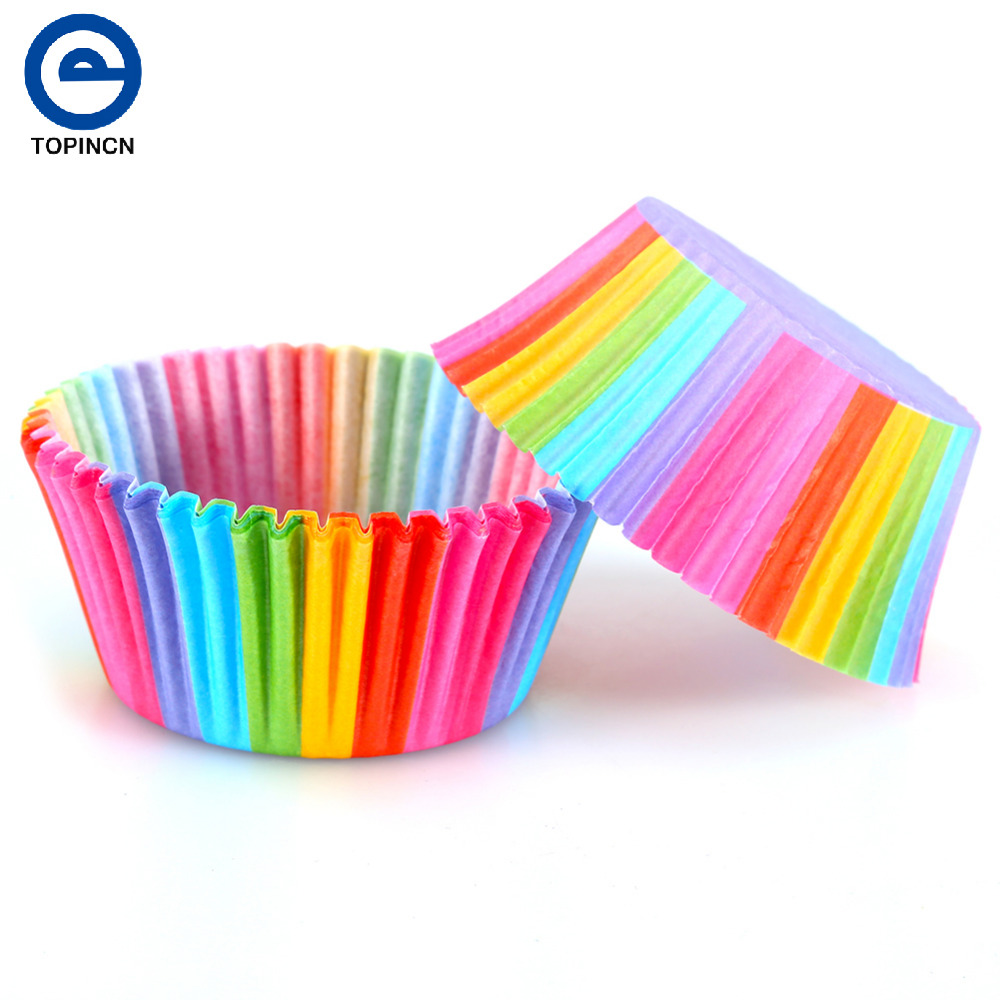 100 Pcs Rainbow Color Cupcake Liner Cupcake Paper  Baking Cup Muffin Cases  Cake Mold Small Cake Box Cup Tray Decorating Tools