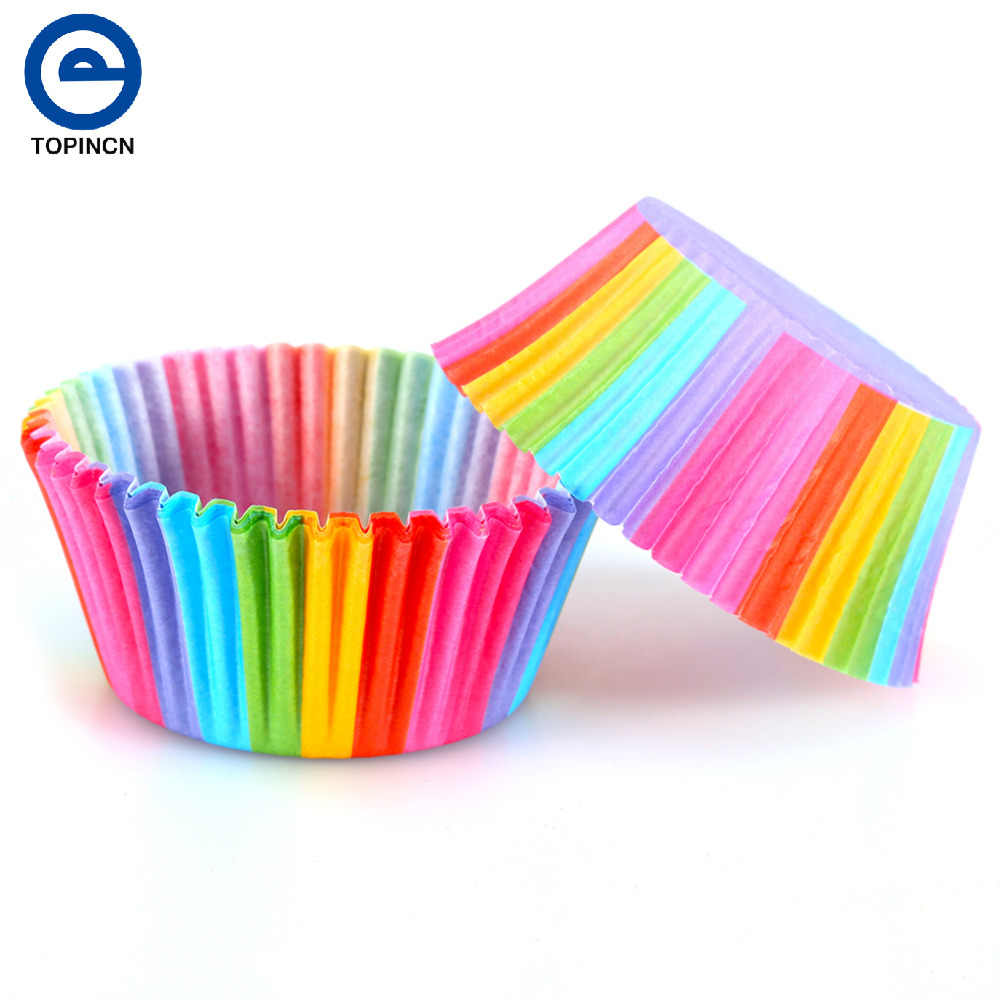 100 pcs Rainbow Color Forro Do Queque Xícara de Bicarbonato de Papel Do Queque Casos de Muffin Molde Do Bolo caixa de Bolo Pequeno Copo Bandeja de Decoração ferramentas