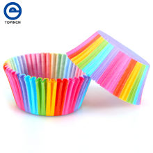 100 pcs Rainbow Color Cupcake Liner Cupcake Paper Baking Cup Muffin Cases Cake Mold Small Cake box Cup Tray Decorating Tools(China)