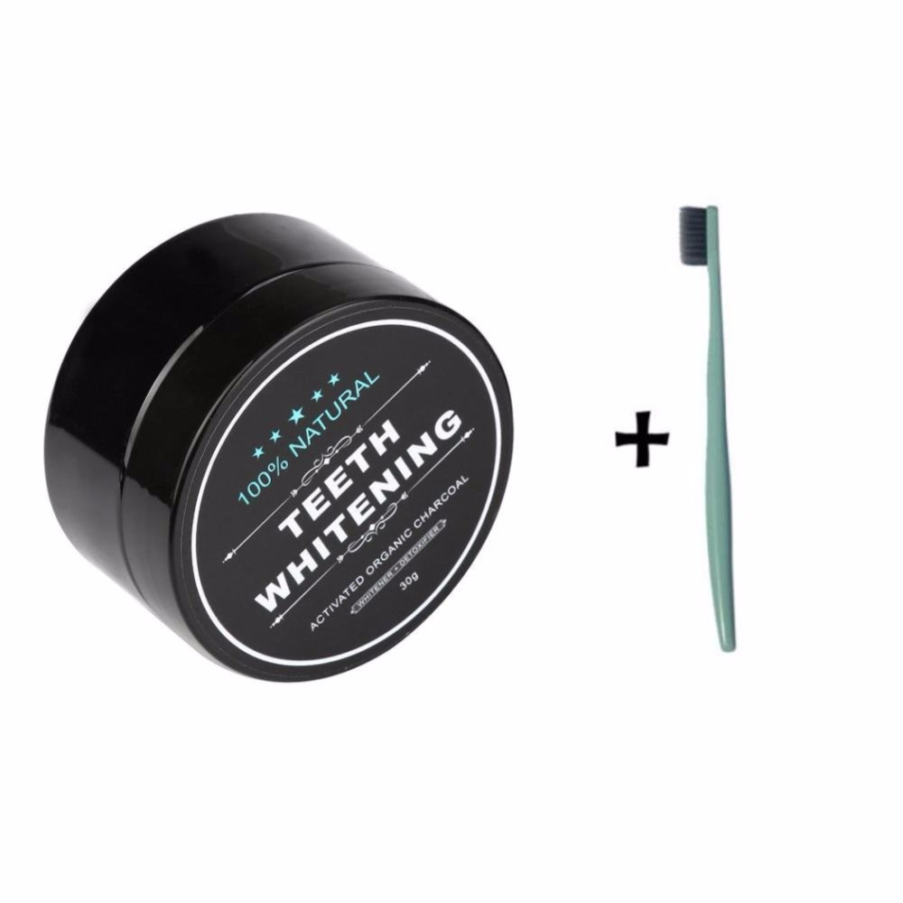 Teeth Whitening Powder Natural Organic Activated Charcoal Bamboo Powder With 1PC Toothbrush Tartar Stain Remover Charcoal Powder