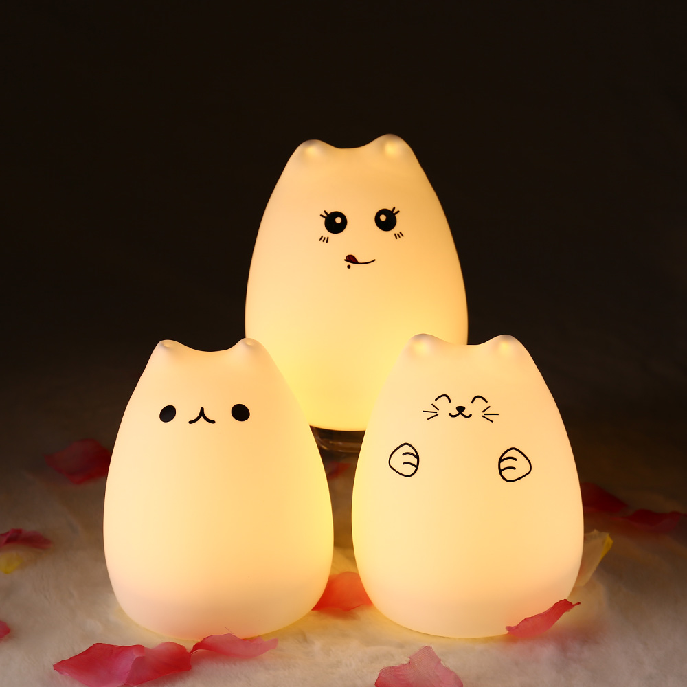 Fashion Rechargeable Touch Sensor Cute Cat Colorful Night Light Silicone Cat Night Light 2 Mode Children Bedroom Cute Night Lamp майка print bar night cat