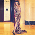 Myriam Fares Burgundy Celebrity Dresses 2016 Long Sheer Back Applique Lace Evening Gowns Abiye Arabic Side Split Dubai Kaftan