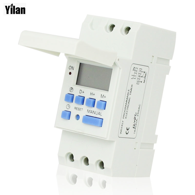 AC 220V Digital LCD Power Timer Programmable Time Switch Relay 16A GOOD temporizador Din Rail hhs6a correct time countdown intelligence number show time relay bring power failure memory ac220v