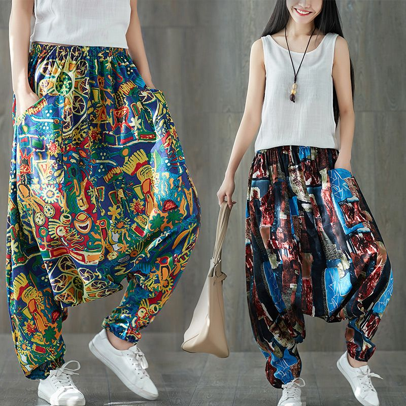 Fluid Big Crotch Floral trousers Boho Casual Low Drop Crotch Bloomers pants Elastic Waist Indian Nepal Baggy Harem Pants A5926