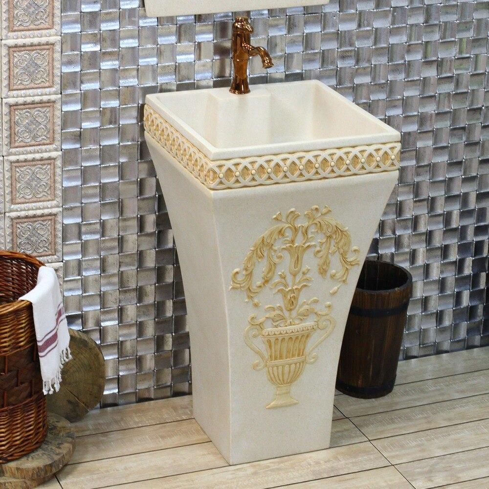 US $1725.81 13% di SCONTO Europeo archaize il lavandino/pietra artificiale  ware/arte/bagno colonna del bacino che lavare un volto-in Recipienti e ...