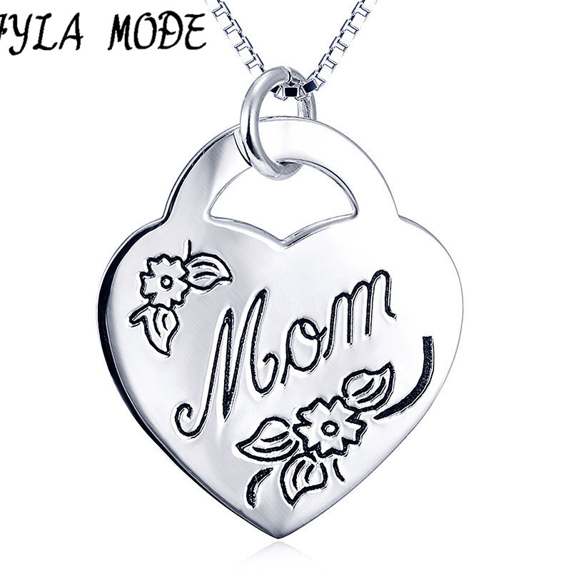FYLA MODE 100 925 Sterling Silver Necklace Fashion Women Necklace Heart Lock Mom Charm Jewelry 925