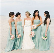 Long Style A Line Sweetheart  Mint Green Bridesmaid Dresses Long Chiffon Dress Gown Bridesmaid