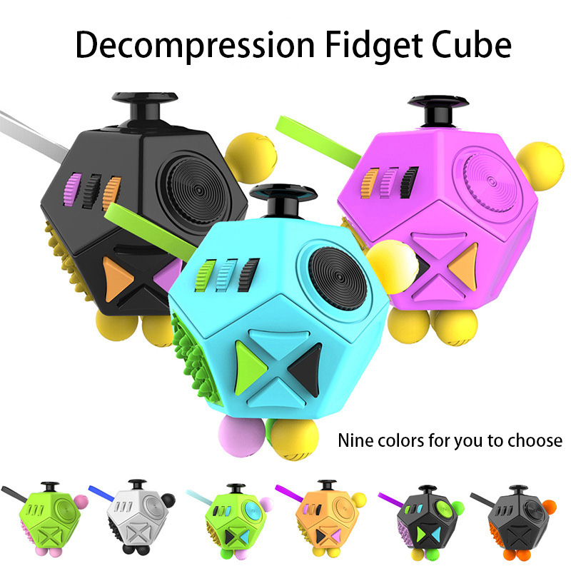 2018 New Fidget Cube Squeeze Fun 12 Ways Side Anti Fidgety Anxiety Relieving Stress Finger Movement Puzzle Creative Toys 32pcs lot dhl free shipping high quality fidget toys edc hand spinner for autism and adhd anxiety stress relief toys