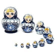10Pcs/set Wooden Russian Girl Hand Painted Nesting Dolls Babushka Gift