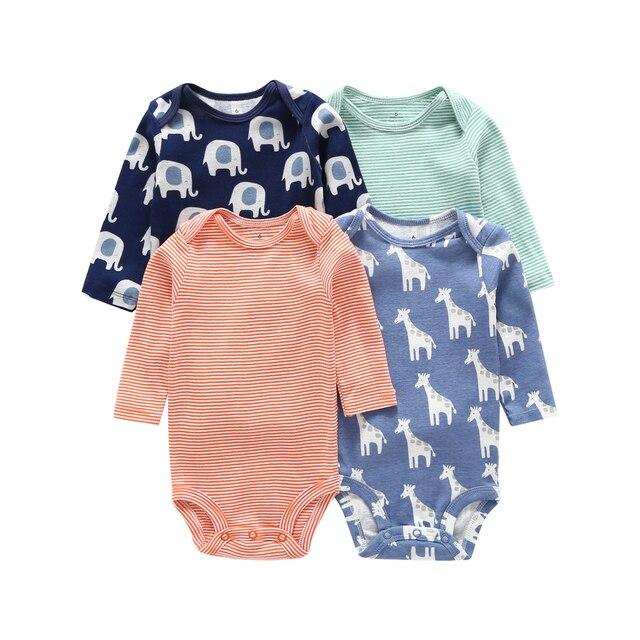 Uzun kollu karikatür hayvan baskı bodysuit erkek bebek kız giyisi 2020 yaz yenidoğan bodysuits unisex giyim pamuk 4 adet/takım