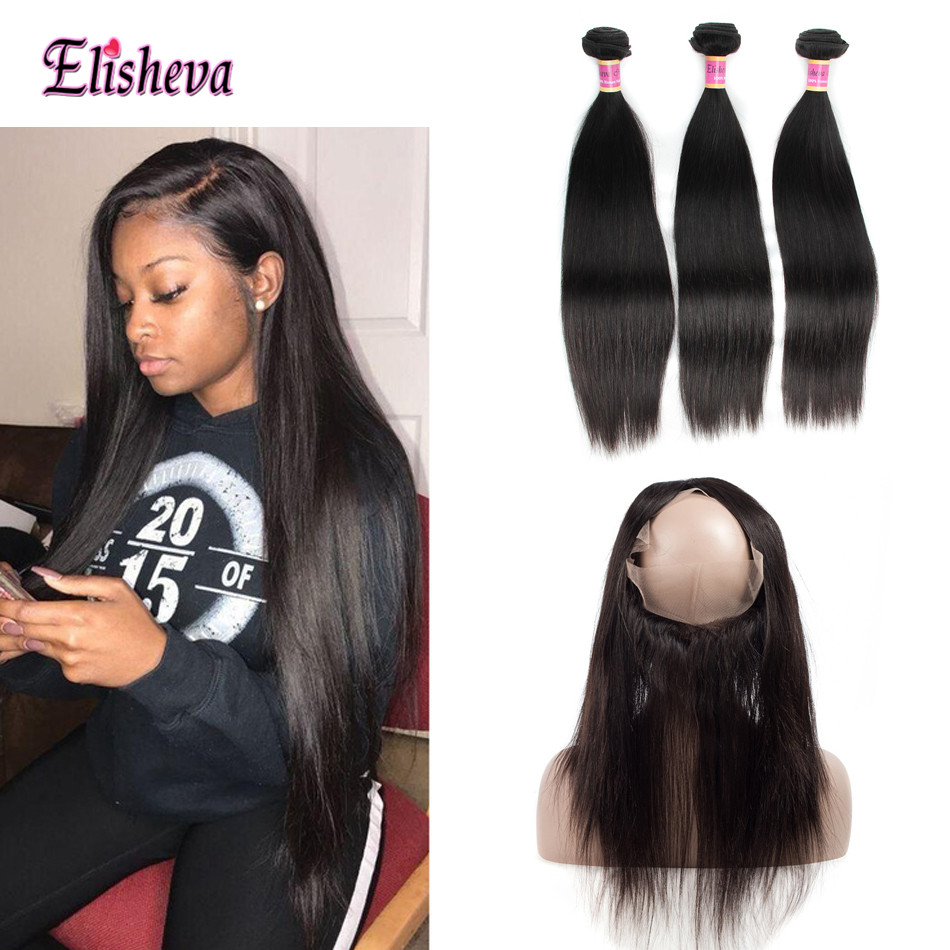 Elisheva 360 Lace Frontal With 3 Bundles Indian Straight Hair 100 Human Hair Bundles with 360