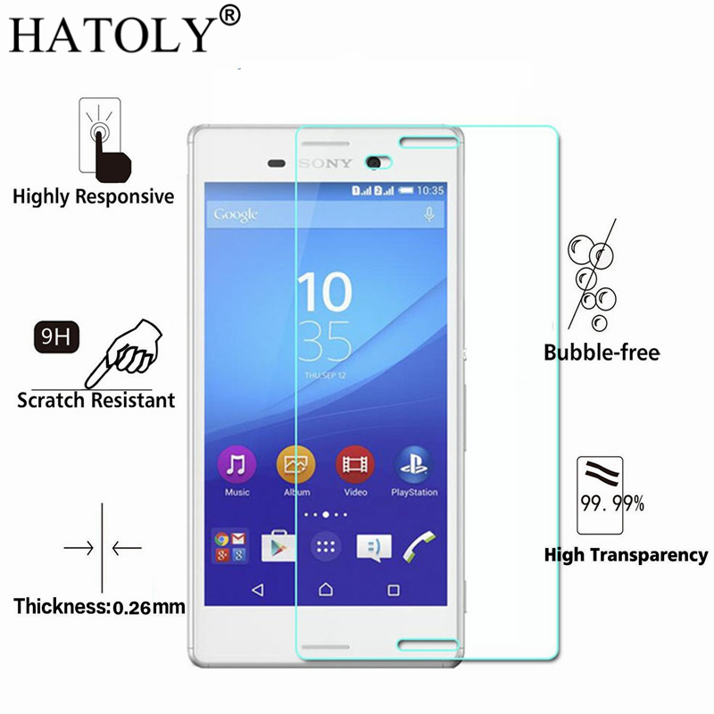 2PCS Tempered Glass For Sony Xperia M4 Aqua Ultra-thin Screen Protector for Sony M4 Aqua Glass Xperia M4 Aqua Film HATOLY