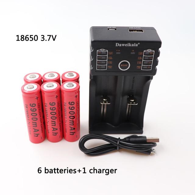 2019/Nieuwe 18650 batterij 3.7 V 9900 mAh oplaadbare lion batterij voor Led flash light batterij 18650 batterij Groothandel + USB lader
