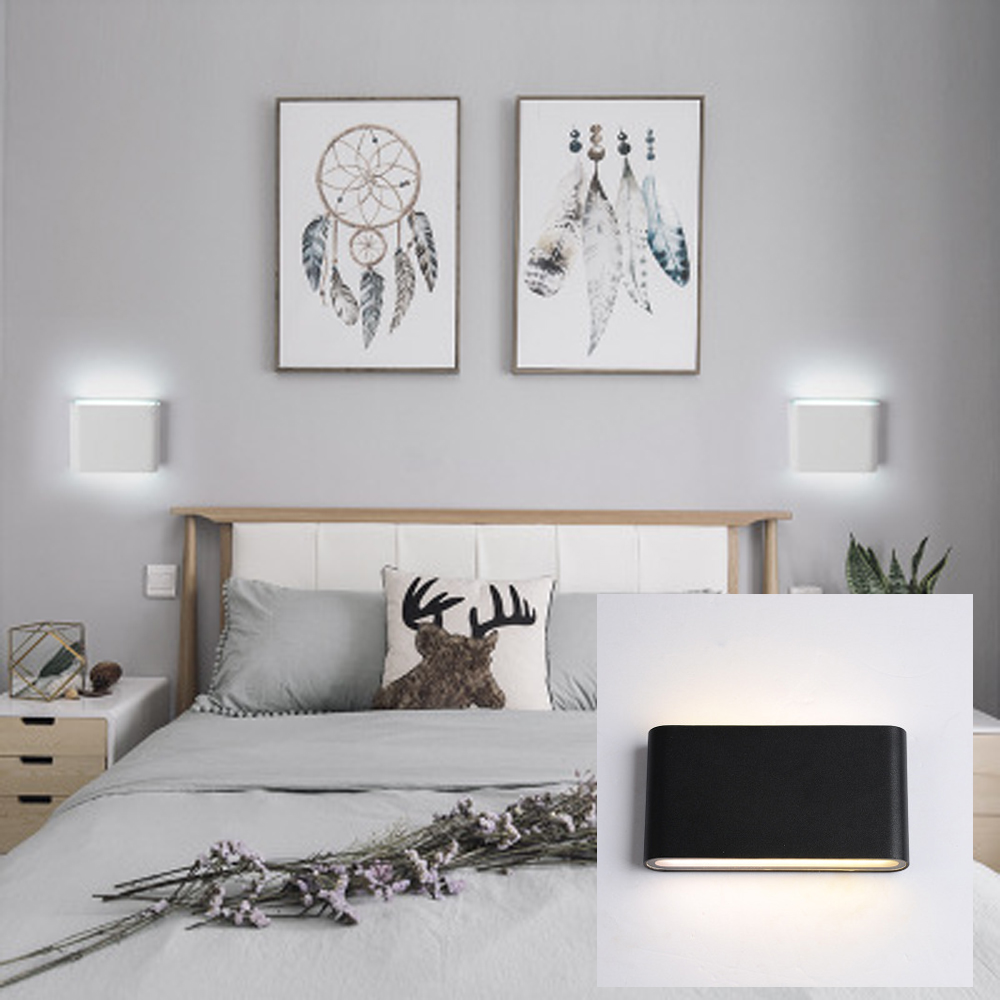 GLW Wall light Outdoor Up Fixture White Modern Waterproof Simple Warm/White LED Indoor Black Cube Sconces Bedside Night Hallway