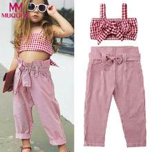 Kinder Baby Mädchen Kleidung Set 2PCs Off Schulter Kleinkind Sleeveless Plaid Tops + Gestreifte Hose Outfit Set vetement enfant kleid(China)