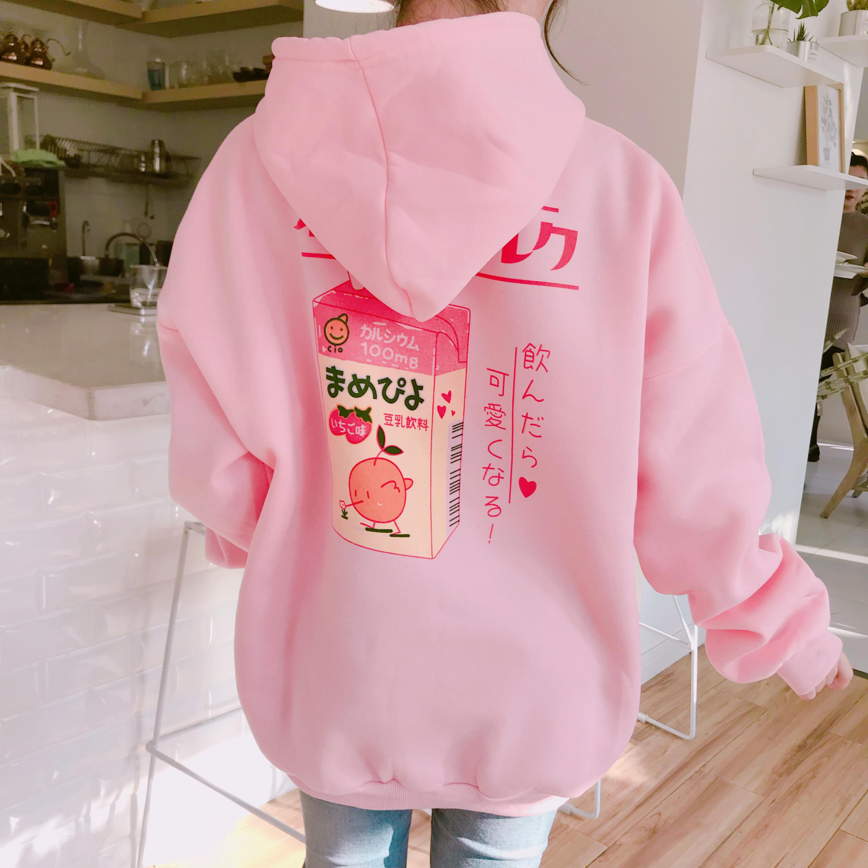 Kawaii Harajuki Kpop Pastel Orange Juice Sweatshirts