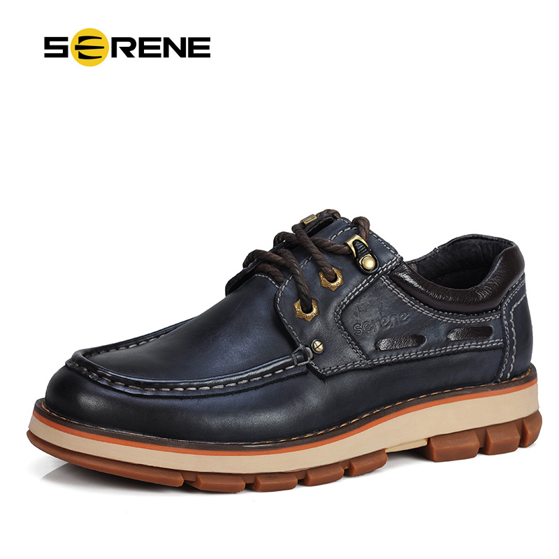 SERENE Brand 2018 Men Leather Shoes Fashion Men Ankle Heigh-increasing Casual Shoes Working Shoes Tooling Dress Shoes 3 Colors