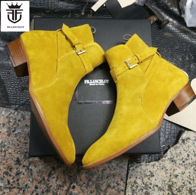 FR LANCELOT 2019 de cuero de gamuza de los hombres zapatos de correa de hebilla botas Chelsea slip en tobillo botas de moda de los hombres de otoño botas