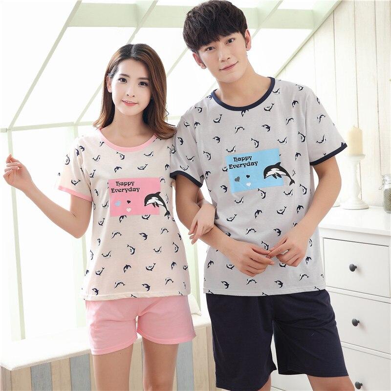 New Summer Cotton Couples Pajamas Sets Mens Pajamas Sweet Girls Cartoon Lounge Suits Sleepwear Women Pyjama femme 3XL Clothing