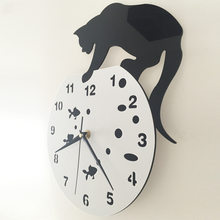 Cat wall clock creative personality acrylic clock Contracted and fashionable sitting room wall clock creative black cat(China)