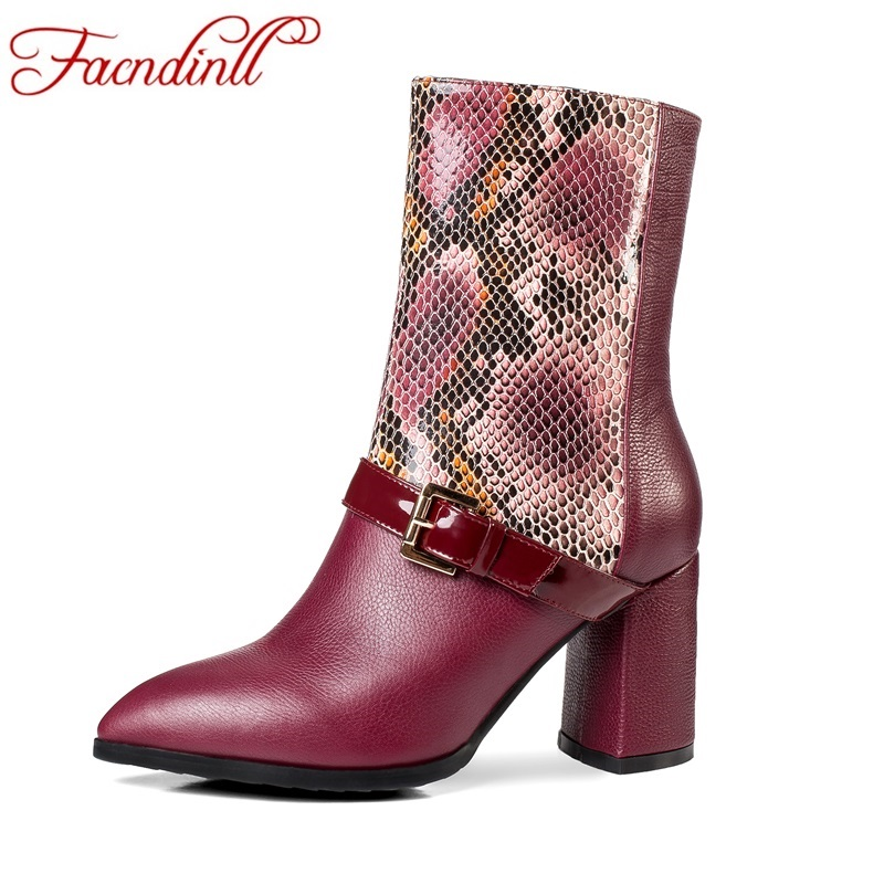FACNDINLL classics new genuine leather women mid calf boots square high heels pointed toe zipper shoes woman short riding boots фен babyliss 6604e