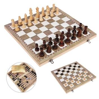 Juego de ajedrez de madera damas Backgammon 3 en 1 de juego de ajedrez internacional piezas de ajedrez de madera plegable de tablero de ajedrez damas I3