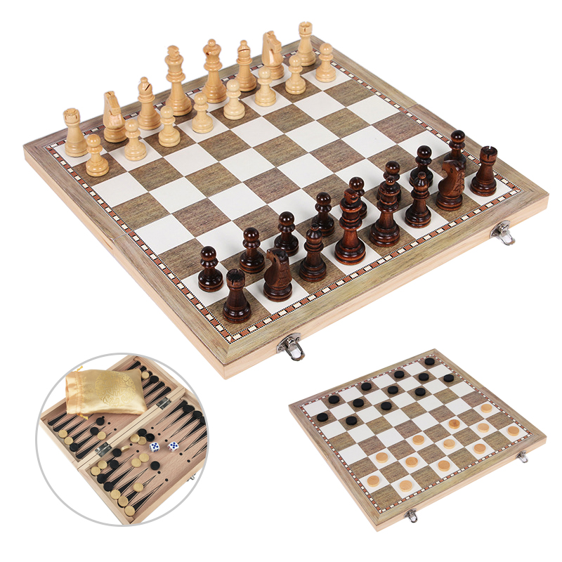 Wooden Chess Set Checkers Backgammon 3 in 1 Travel International Chess Game Wood Chess Pieces Foldable