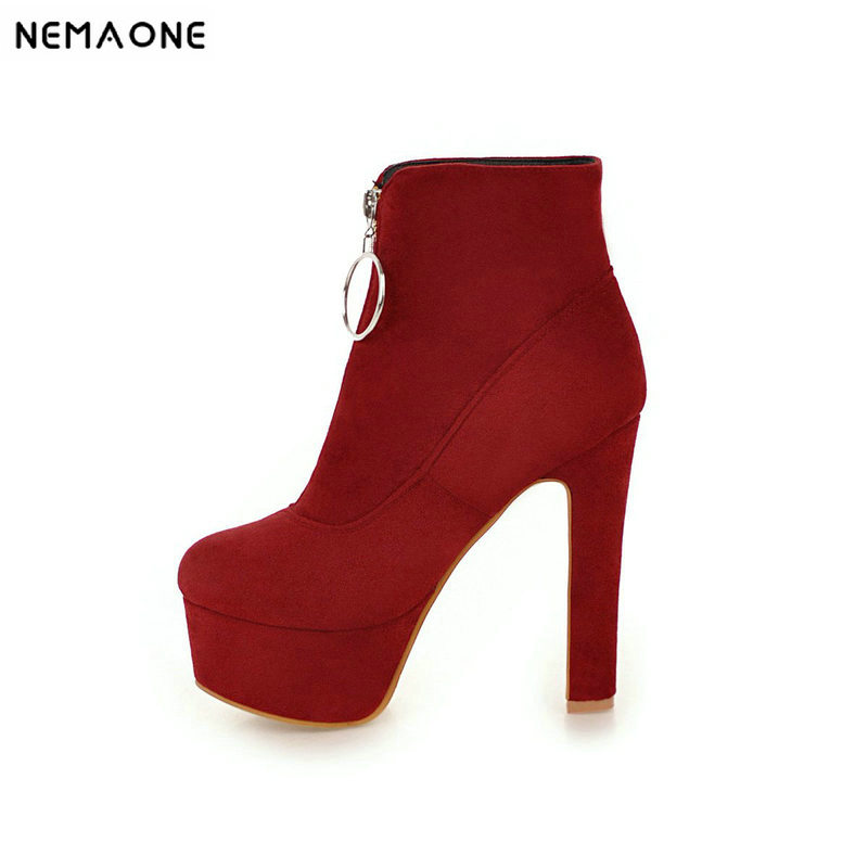 NemaoNe 2018 new top quality flock leather boots woemn high heels platform ankle boots for women round toe autumn winter shoes стоимость